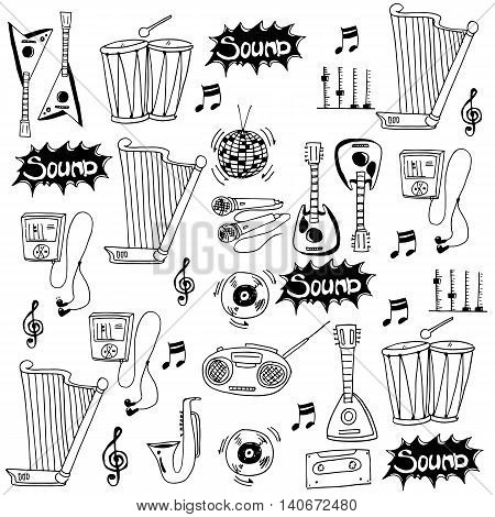 Doodle of music icon set stock vector illustration