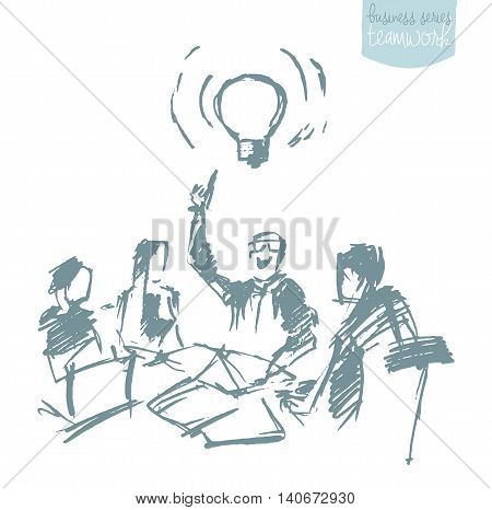 Hand drawn vector illustration of a business people having a business meeting. Brainstorming, teamwork. Concept vector illustration, sketch