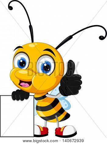 funny cartoon bee thumb up with holding blank sign