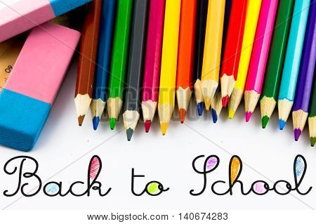 Back to school with colors pencils and eraser