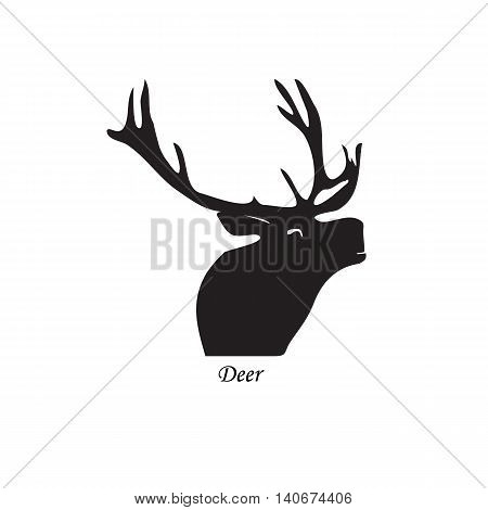 Black silhouette of a deer. Vector illustration on isolated background.