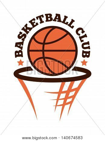 Template logo for basketball sport team with sport sign and symbols. Tournament competition graphic champion sport team logo badge icon. Vector club game basketball sport team logo badge.