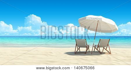 Beach chair and umbrella on sand beach. Concept for rest relaxation holidays spa resort.