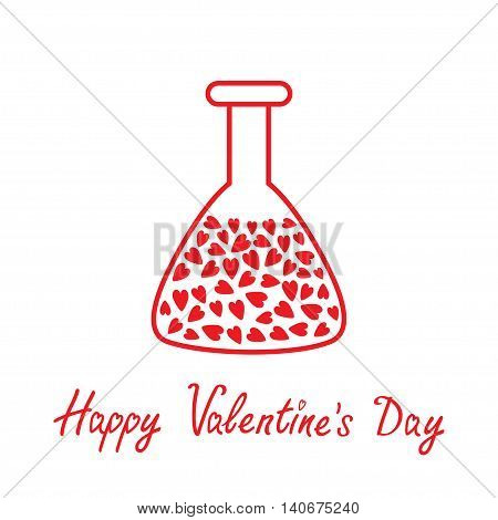 Love laboratory glass with hearts inside. Thin line icon. Happy Valentines Day card. Flat design. White background. Isolated. Vector illustration.