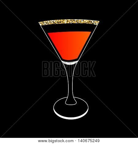 Cocktail in martini glass. Party card. Glowing drink. Gold sparkles glitter Black background. Vector illustration