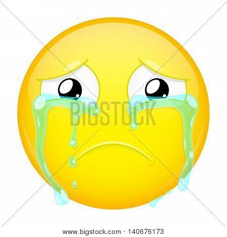 Sad crying emoji. Bad emotion. Weeping emoticon. Vector illustration smile icon.
