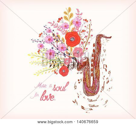 Music is soul for love. Saxophone and watercolor flower