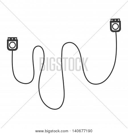 flat design usb cable icon vector illustration