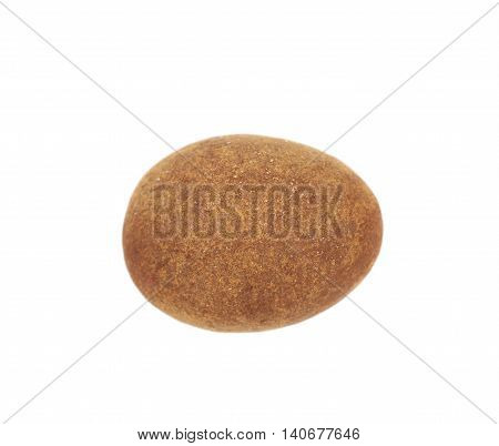 Chocolate coated almond nut isolated over the white background