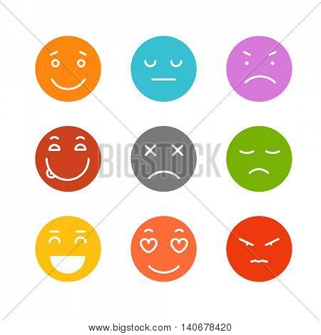 Different schematic face emotions isolated on white