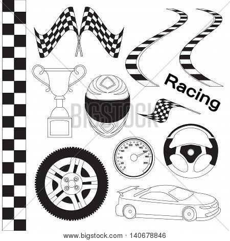 Car race icons set. Stopwatch and speedometer, tire and pedestal, helmet and cup, winning finish, flag and speed competition. Vector illustration, EPS 10