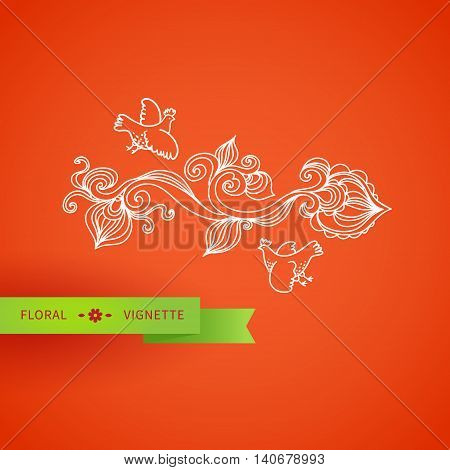 Outline Floral Vignette With Bird, Leaves And Swirls.