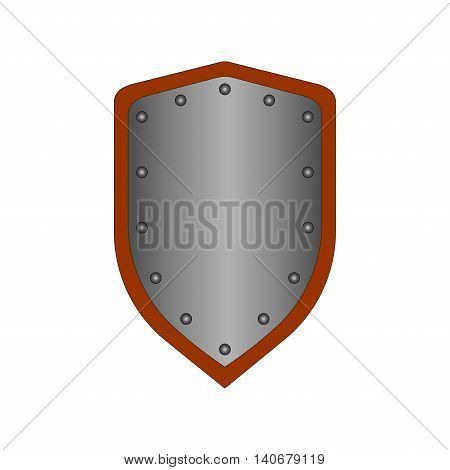 Sign shield silver. Protection icon isolated on white background. Mark with volume effect. Symbol of a steel guard. Color element. Logo for military and security. Stock vector illustration