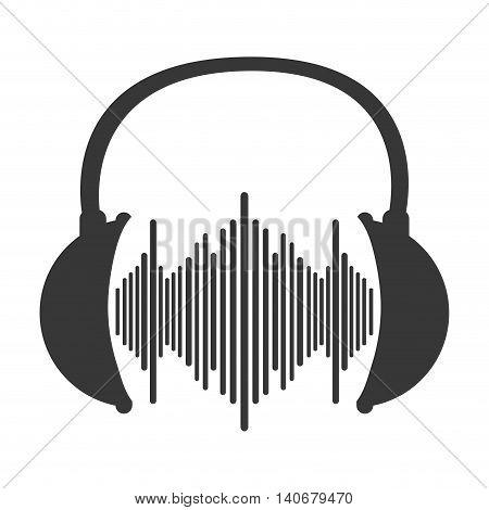 flat design music soundwave in headphones icon vector illustration