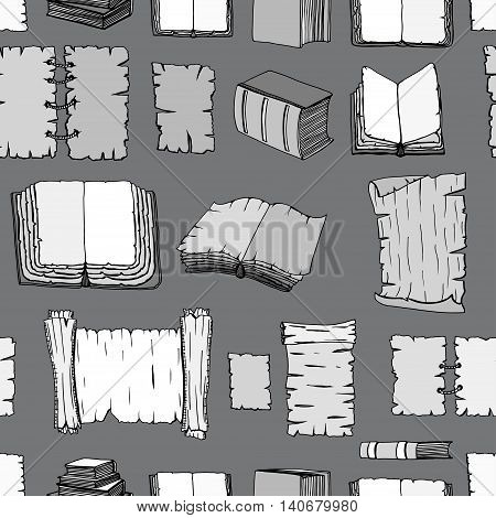 Seamless Hand Drawn Illustrations Pattern of Big Set Books manuscripts. Doodle vector illustration isolated on black background.