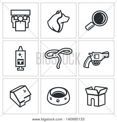 People, Dog, Magnifier, Syringe, Lasso, Gun, Building, Plate, Box