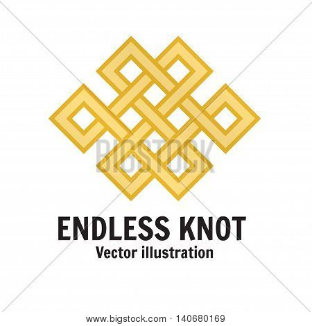 The endless knot. Graphic ornament composed of right-angled intertwined lines. For web design mobile and application interface also useful for infographics. Vector illustration.