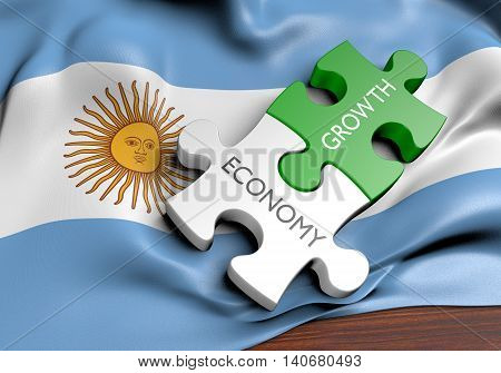Argentina economy and financial market growth concept, 3D rendering
