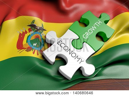Bolivia economy and financial market growth concept, 3D rendering