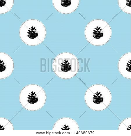Pinecone Vector illustration. seamless pattern hand drawn