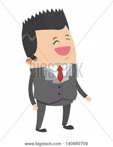 flat design cute businessman with pointy hair cartoon icon vector illustration