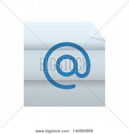 Email concept represented by arroba icon inside paper. Isolated and flat illustration