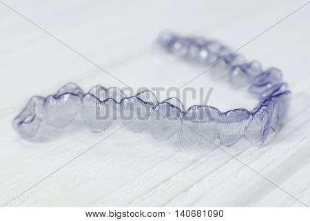 Close-up Individual Tooth Tray Orthodontic Dental Theme. Invisible Braces