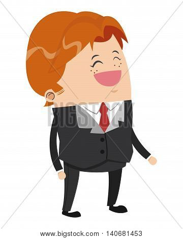 flat design cute businessman with shaggy red hair cartoon icon vector illustration