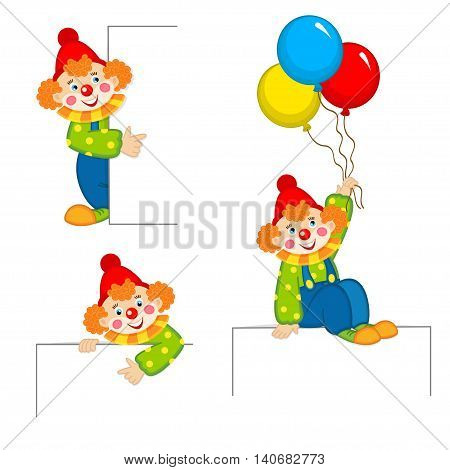 clown peeking behind placard - vector illustration, eps