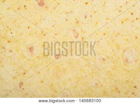 Close-up crop fragment of a tortilla flatbread as a background texture composition