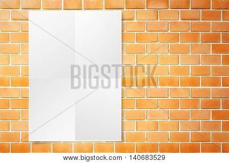 Black White Paper Poster Hanging At Grunge Orange Brick Wall,template Mock Up For Adding Your Design