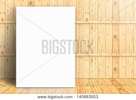 Blank White Paper Poster On Wooden Room,template Mock Up For Adding Your Design