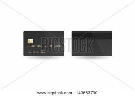 Blank black credit card mockup isolated clipping path front and back side 3d illustration. Empty plastic card mock up. Clear surface gray bank card with electronic chip. Debit card design template.