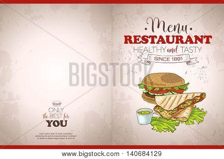 Cover color horisontal menu design on a retro background. Vector illustration, EPS 10