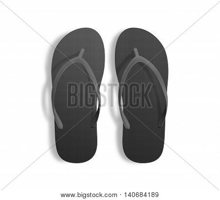 Pair of blank black beach slippers design mockup clipping path 3d illustration. Home plain flops mock up template top view. Clear bath sandal display. Bed shoes accessory footwear. Rubber flipflops