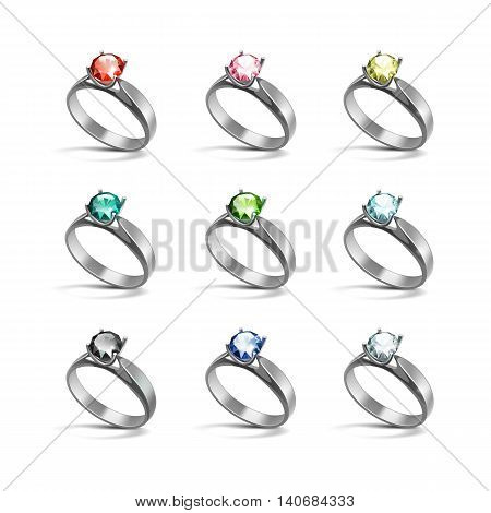 Vector Set of Silver Engagement Rings with Colored Red Pink Blue Turquoise Green Black and White Shiny Clear Diamonds Isolated on White Background
