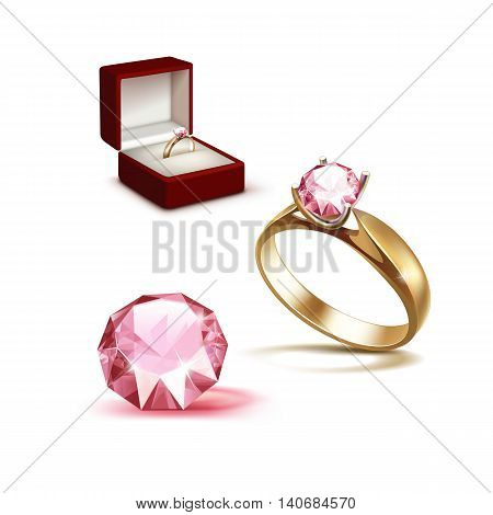 Vector Gold Engagement Ring with Pink Shiny Clear Diamond in Red Jewelry box Close up Isolated on White Background