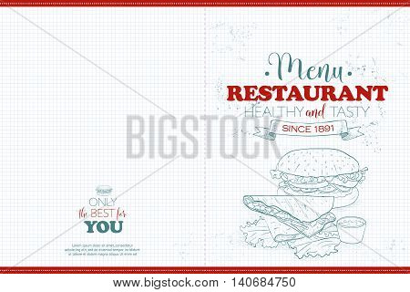 Cover Scetch horisontal menu design on a notebook page. Vector illustration, EPS 10