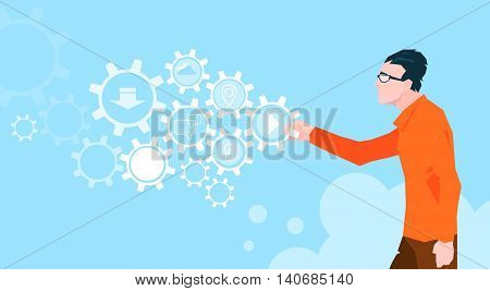 Programmer Business Man Cogwheel Flat Vector Illustration