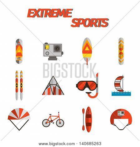 Extreme sports flat icon set. Vector illustration, EPS 10