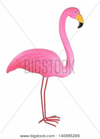 Pink plastic flamingo, isolated on white background.