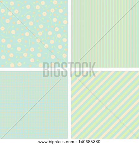 Set of charming pattens in pastel tones