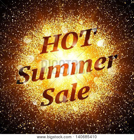 Hot summer sale banner. Abstract explosion with gold glittering elements. Burst of glowing star. Dust firework light effect. Sparkles splash powder background. Vector illustration.