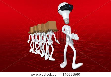 Virtual Reality VR Idea Followers 3D Illustration