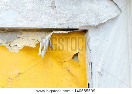 Cracked Yellow Paint Color Concrete Wall,texture Background