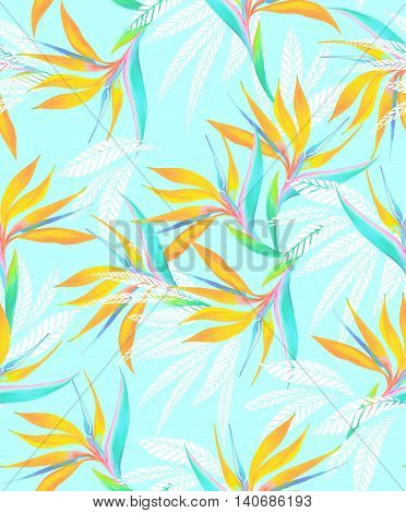 beautiful watercolor seamless tropical pattern with subtle colors. Heliconia, palms and bird of paradise. Amazing botanical illustrations.