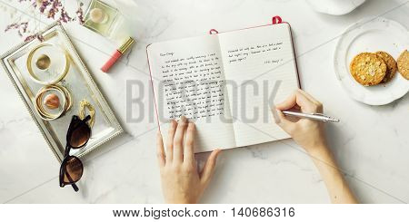 Writing Journal Female Tea Cookies Decor Concept