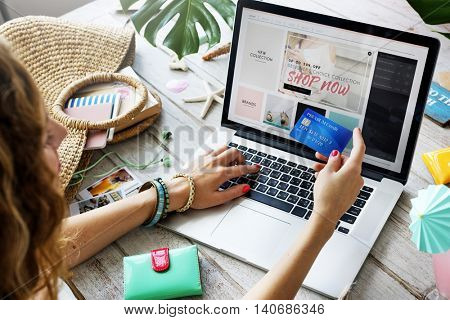 Summer Beach Holiday Online Shopping Concept