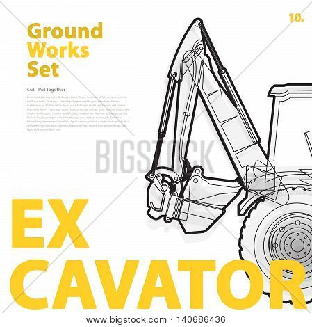 Excavator - construction machinery. Typography set of ground works machines vehicles on white. Construction equipment for building. Master vector illustration. Truck, Digger, Crane, Forklift, Roller