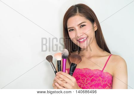 Making Up The Models Face - Professional Makeup Artist Working